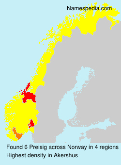 Surname Preisig in Norway