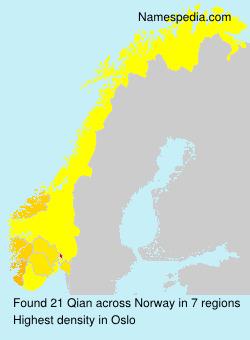 Surname Qian in Norway