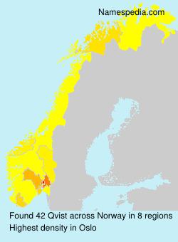 Familiennamen Qvist - Norway