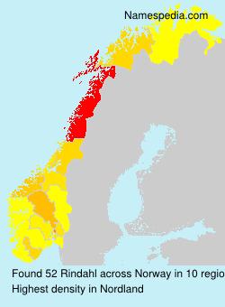 Surname Rindahl in Norway