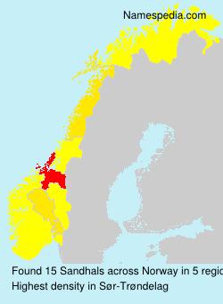 Surname Sandhals in Norway