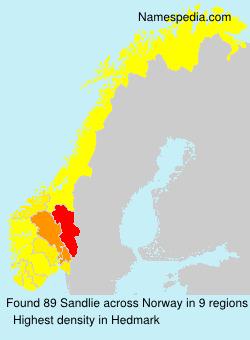 Surname Sandlie in Norway