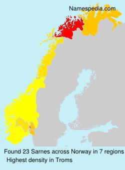 Surname Sarnes in Norway