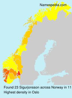 Familiennamen Sigurjonsson - Norway