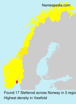 Surname Sletterod in Norway