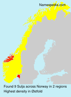 Familiennamen Sulja - Norway