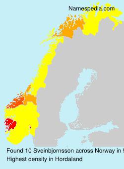 Surname Sveinbjornsson in Norway