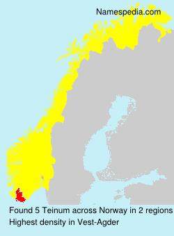 Surname Teinum in Norway