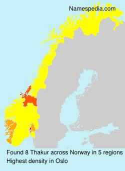 Familiennamen Thakur - Norway