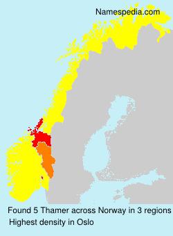 Familiennamen Thamer - Norway