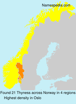 Surname Thyness in Norway