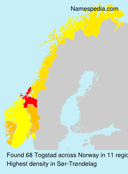 Surname Togstad in Norway