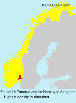 Surname Tonerud in Norway