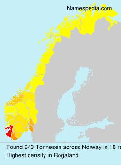 Surname Tonnesen in Norway