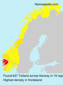 Surname Totland in Norway