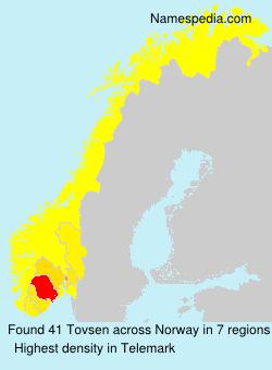 Surname Tovsen in Norway