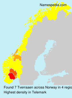 Surname Tverraaen in Norway