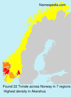 Surname Tvinde in Norway