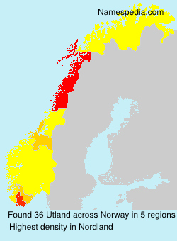 Surname Utland in Norway