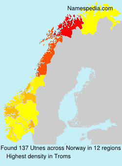 Surname Utnes in Norway