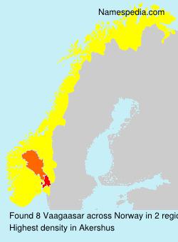 Surname Vaagaasar in Norway