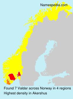 Surname Valdar in Norway