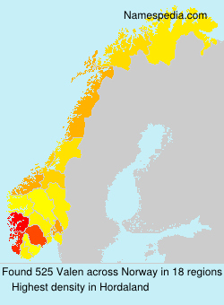 Surname Valen in Norway