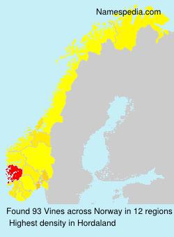 Familiennamen Vines - Norway