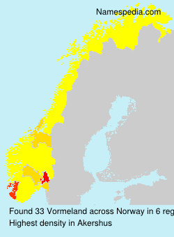 Surname Vormeland in Norway