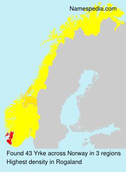 Surname Yrke in Norway