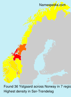 Surname Ystgaard in Norway