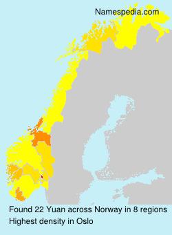 Surname Yuan in Norway