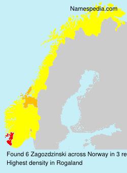 Surname Zagozdzinski in Norway