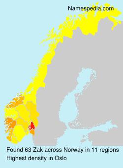 Familiennamen Zak - Norway