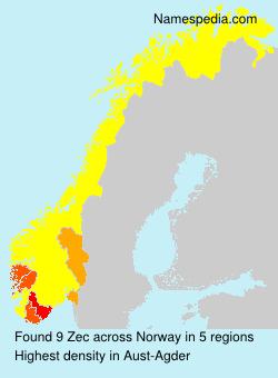 Surname Zec in Norway