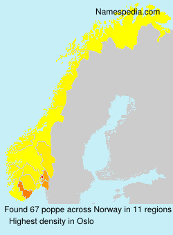 Surname poppe in Norway
