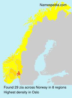 Surname zia in Norway