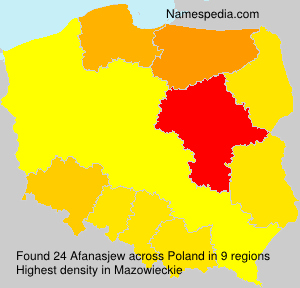 Surname Afanasjew in Poland