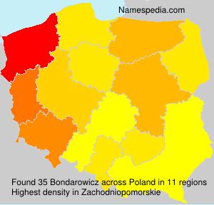 Surname Bondarowicz in Poland