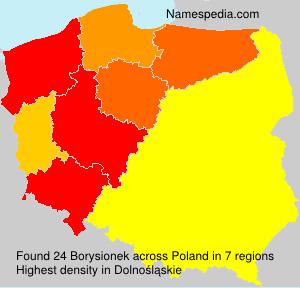 Surname Borysionek in Poland