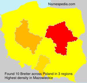 Familiennamen Breiter - Poland