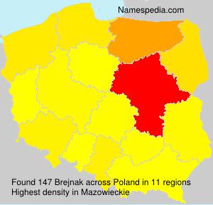 Surname Brejnak in Poland