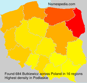 Surname Butkiewicz in Poland