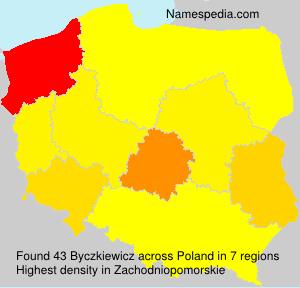 Surname Byczkiewicz in Poland