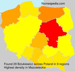 Surname Bziukiewicz in Poland
