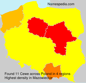 Surname Cewe in Poland