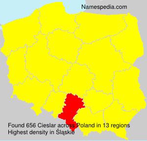 Surname Cieslar in Poland