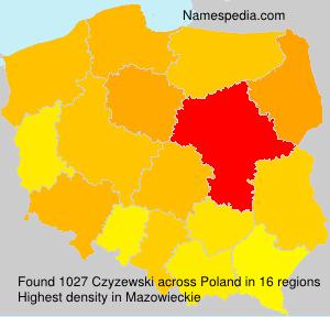 Surname Czyzewski in Poland