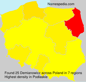 Surname Demianowicz in Poland