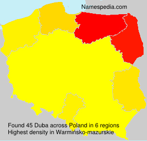 Familiennamen Duba - Poland